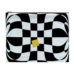 Dropout Yellow Black And White Distorted Check Cosmetic Bag (xl) by designworld65