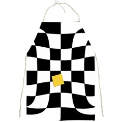 Dropout Yellow Black And White Distorted Check Full Print Aprons by designworld65