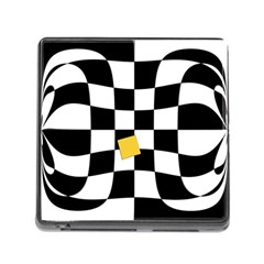 Dropout Yellow Black And White Distorted Check Memory Card Reader (square) by designworld65