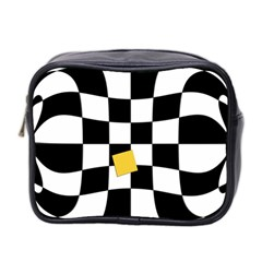 Dropout Yellow Black And White Distorted Check Mini Toiletries Bag 2 Side