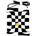 Dropout Yellow Black And White Distorted Check Shoulder Sling Bags