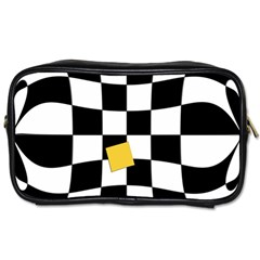 Dropout Yellow Black And White Distorted Check Toiletries Bags 2 Side