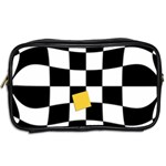Dropout Yellow Black And White Distorted Check Toiletries Bags 2-Side Back