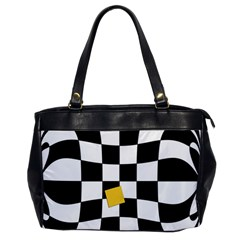 Dropout Yellow Black And White Distorted Check Office Handbags by designworld65