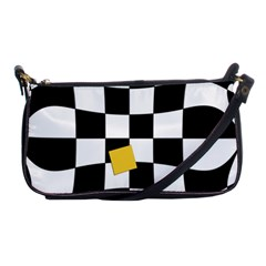 Dropout Yellow Black And White Distorted Check Shoulder Clutch Bags by designworld65
