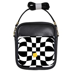 Dropout Yellow Black And White Distorted Check Girls Sling Bags by designworld65