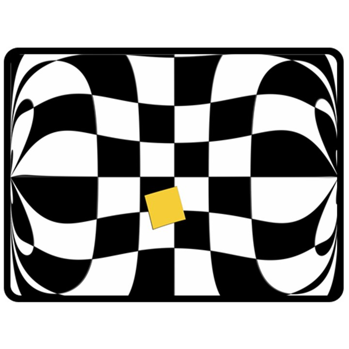 Dropout Yellow Black And White Distorted Check Fleece Blanket (Large)