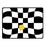Dropout Yellow Black And White Distorted Check Fleece Blanket (Small) 50 x40 Blanket Front