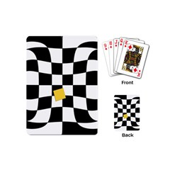 Dropout Yellow Black And White Distorted Check Playing Cards (mini)  by designworld65