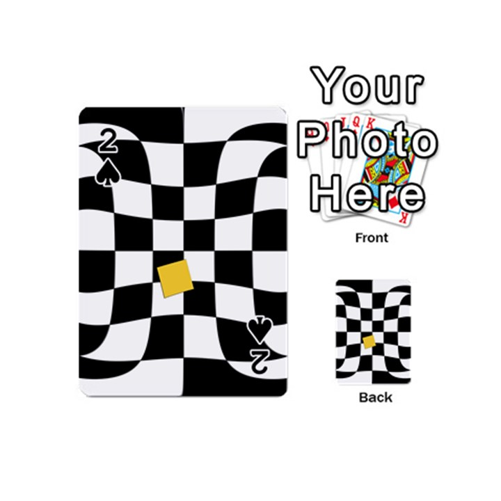 Dropout Yellow Black And White Distorted Check Playing Cards 54 (Mini)
