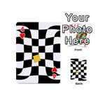 Dropout Yellow Black And White Distorted Check Playing Cards 54 (Mini)  Front - Heart4