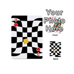 Dropout Yellow Black And White Distorted Check Playing Cards 54 (Mini)  Front - Heart7