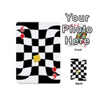 Dropout Yellow Black And White Distorted Check Playing Cards 54 (Mini)  Front - Diamond6