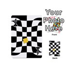Dropout Yellow Black And White Distorted Check Playing Cards 54 (Mini)  Front - Club4