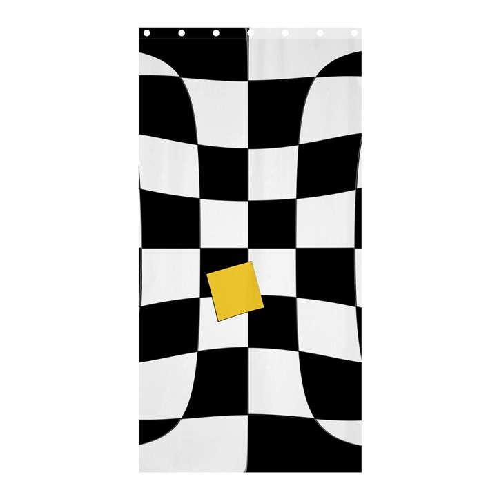 Dropout Yellow Black And White Distorted Check Shower Curtain 36  x 72  (Stall)