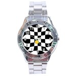 Dropout Yellow Black And White Distorted Check Stainless Steel Analogue Watch Front