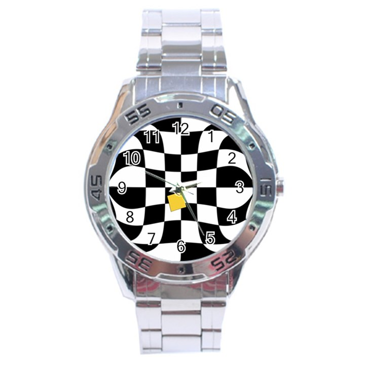 Dropout Yellow Black And White Distorted Check Stainless Steel Analogue Watch