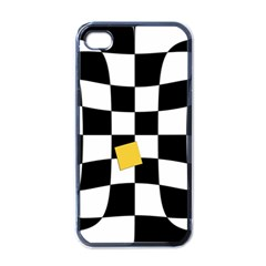 Dropout Yellow Black And White Distorted Check Apple Iphone 4 Case (black) by designworld65