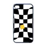Dropout Yellow Black And White Distorted Check Apple iPhone 4 Case (Black) Front