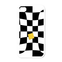 Dropout Yellow Black And White Distorted Check Apple Iphone 4 Case (white) by designworld65