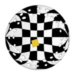Dropout Yellow Black And White Distorted Check Ornament (Round Filigree)  Front