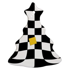 Dropout Yellow Black And White Distorted Check Ornament (christmas Tree) by designworld65