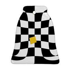 Dropout Yellow Black And White Distorted Check Ornament (bell)  by designworld65