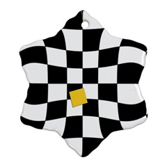 Dropout Yellow Black And White Distorted Check Snowflake Ornament (2 Side) by designworld65