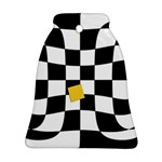 Dropout Yellow Black And White Distorted Check Bell Ornament (2 Sides) Front