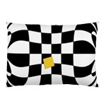 Dropout Yellow Black And White Distorted Check Pillow Case (Two Sides) Front