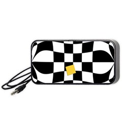Dropout Yellow Black And White Distorted Check Portable Speaker (black)  by designworld65