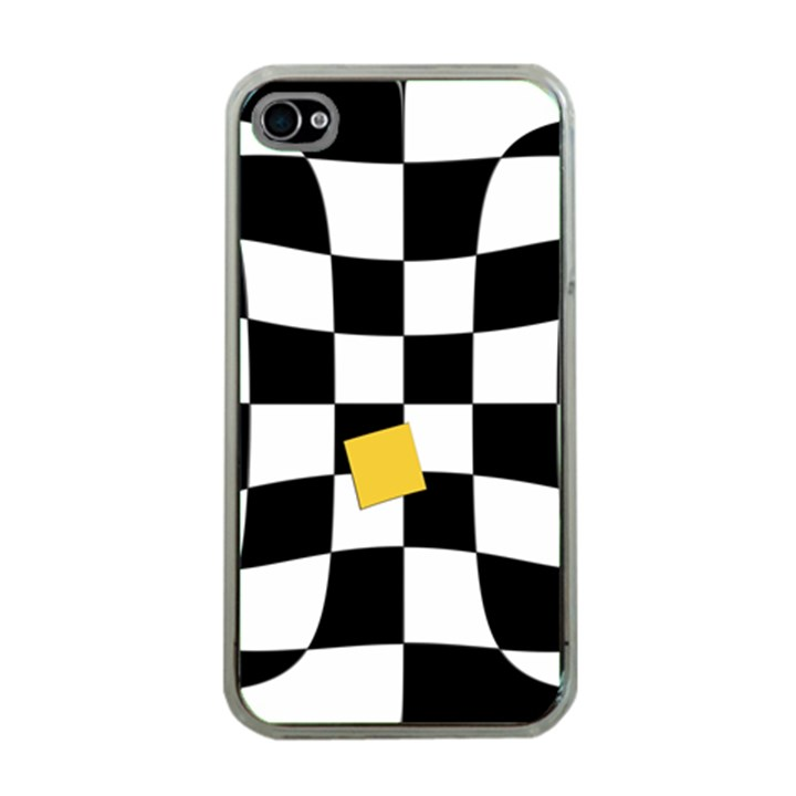 Dropout Yellow Black And White Distorted Check Apple iPhone 4 Case (Clear)