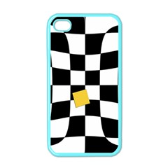 Dropout Yellow Black And White Distorted Check Apple Iphone 4 Case (color) by designworld65