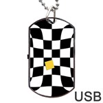 Dropout Yellow Black And White Distorted Check Dog Tag USB Flash (One Side) Front