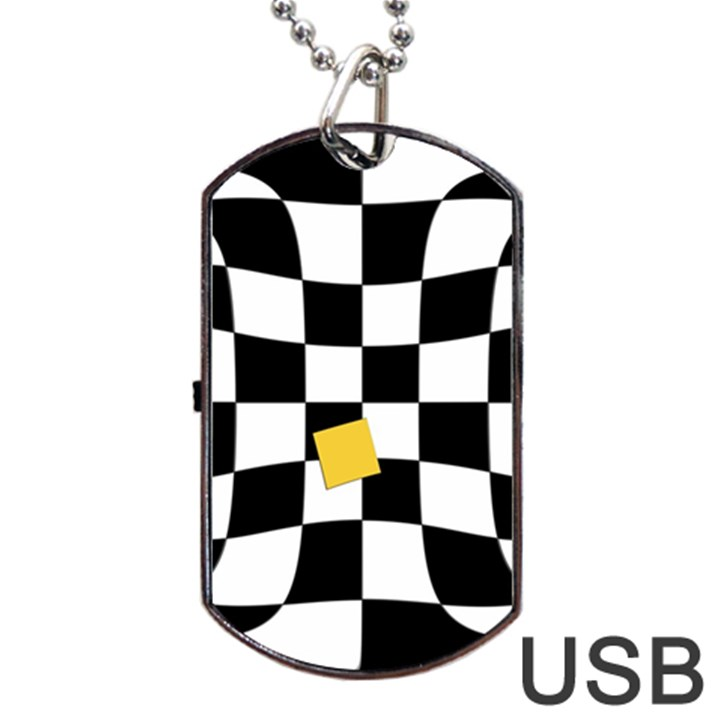 Dropout Yellow Black And White Distorted Check Dog Tag USB Flash (One Side)