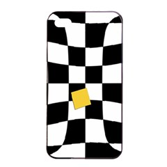 Dropout Yellow Black And White Distorted Check Apple Iphone 4/4s Seamless Case (black) by designworld65