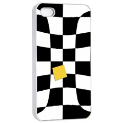 Dropout Yellow Black And White Distorted Check Apple Iphone 4/4s Seamless Case (white) by designworld65