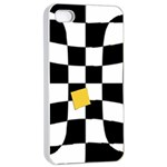 Dropout Yellow Black And White Distorted Check Apple iPhone 4/4s Seamless Case (White) Front