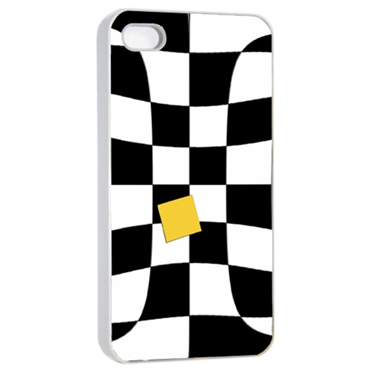 Dropout Yellow Black And White Distorted Check Apple iPhone 4/4s Seamless Case (White)