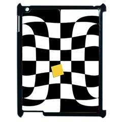 Dropout Yellow Black And White Distorted Check Apple Ipad 2 Case (black) by designworld65