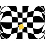 Dropout Yellow Black And White Distorted Check Circle Bottom 3D Greeting Card (7x5) Back