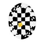 Dropout Yellow Black And White Distorted Check Oval Filigree Ornament (2-Side)  Front