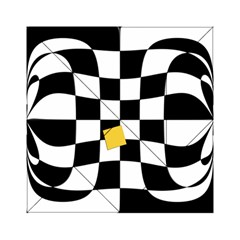 Dropout Yellow Black And White Distorted Check Acrylic Tangram Puzzle (6  X 6 ) by designworld65