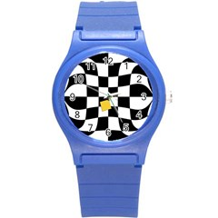 Dropout Yellow Black And White Distorted Check Round Plastic Sport Watch (s) by designworld65