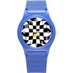 Dropout Yellow Black And White Distorted Check Round Plastic Sport Watch (S) Front