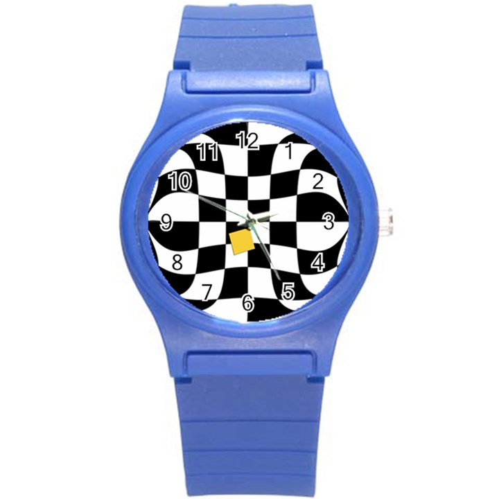 Dropout Yellow Black And White Distorted Check Round Plastic Sport Watch (S)