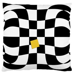 Dropout Yellow Black And White Distorted Check Large Cushion Case (two Sides)