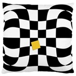 Dropout Yellow Black And White Distorted Check Large Cushion Case (Two Sides) Back