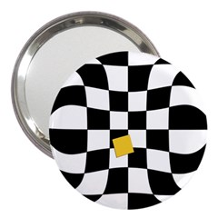 Dropout Yellow Black And White Distorted Check 3  Handbag Mirrors