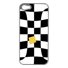 Dropout Yellow Black And White Distorted Check Apple Iphone 5 Case (silver) by designworld65